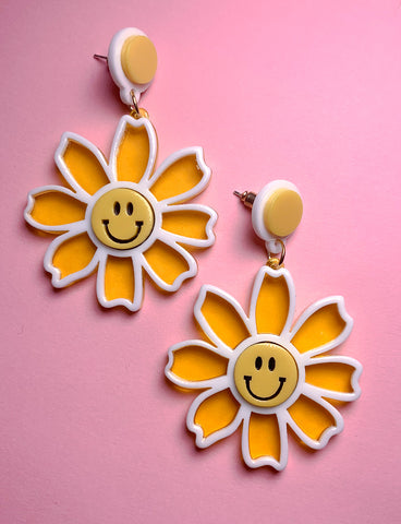 HAPPY FLOWER EARRINGS - YELLOW