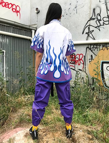 FLAME SHIRT - WHITE WITH BLUE