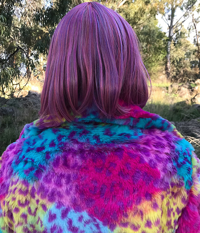 GIRL BOSS FAUX FUR RAINBOW LEOPARD JACKET *PRE ORDER*
