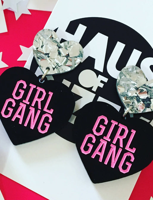 GIRL GANG EARRINGS - HOLO & PINK