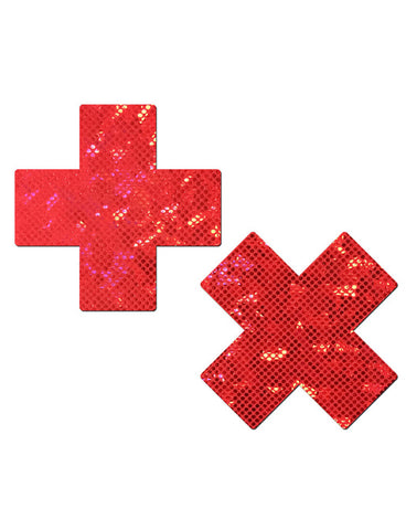 CROSS NIPPLE PASTIES - RED SHATTERED GLASS