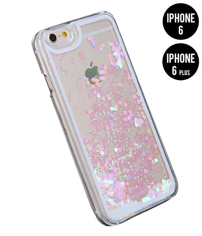 GLITTER HEART RAIN PHONE 6 / 6 PLUS CASE - PINK