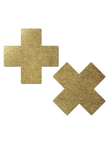 CROSS NIPPLE PASTIES - GOLD *REUSABLE SILICONE*