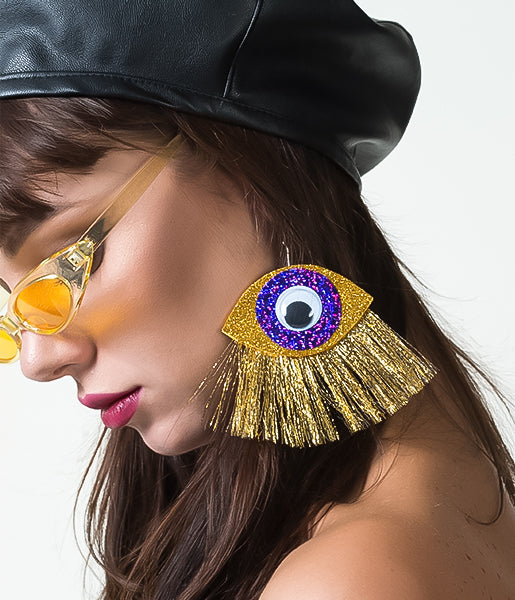 INTO MY EYEBALL EARRINGS - GOLD & PURPLE