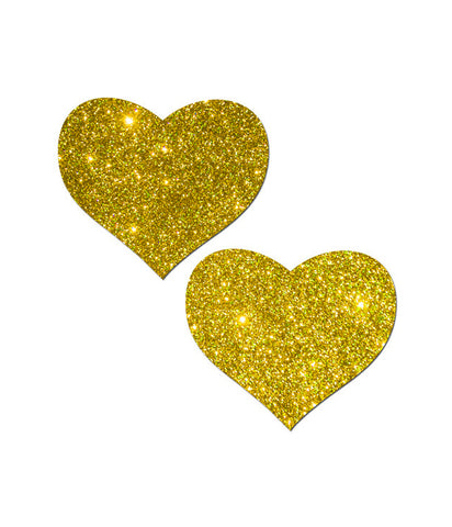 HEART NIPPLE PASTIES - GOLD GLITTER