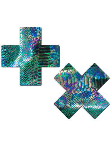 Plus X Silver Holographic Cross Nipple Pasties by Pastease o//s