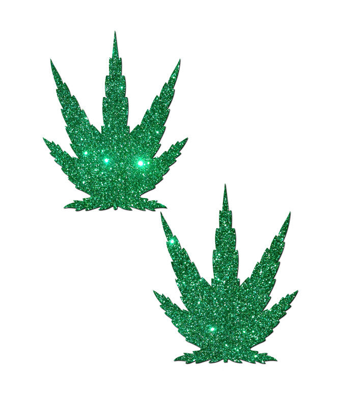 GLITTERING WEED NIPPLE PASTIES - GREEN