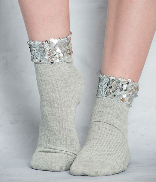 SEQUIN TRIM SOCKS - GREY