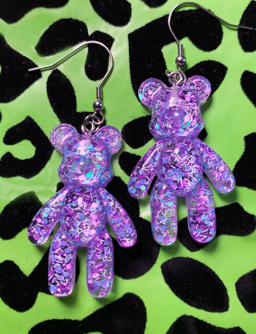 GUMMI BEAR EARRINGS - PURPLE GLITTER