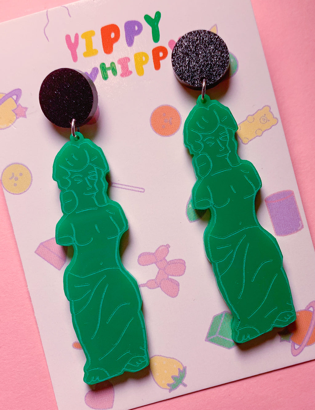 GUMMI VENUS EARRINGS - BLACK