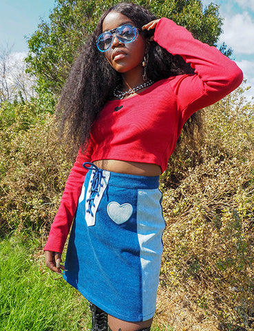 DOUBLE DENIM LACE UP SKIRT
