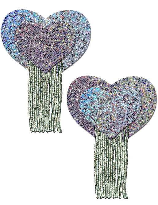 HEART NIPPLE PASTIES - SILVER TASSEL