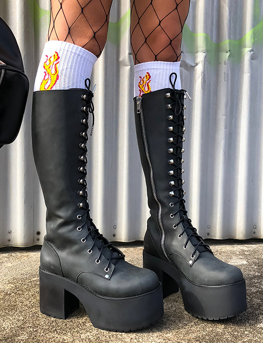 YOUR HIGHNESS LEATHER LACE UP BOOTS