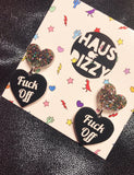 FUCK OFF EARRINGS - SMALL GLITTER