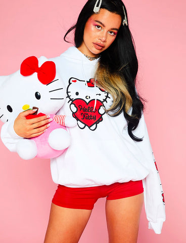 HELLO KITTY WHITE OVERSIZE HOODIE