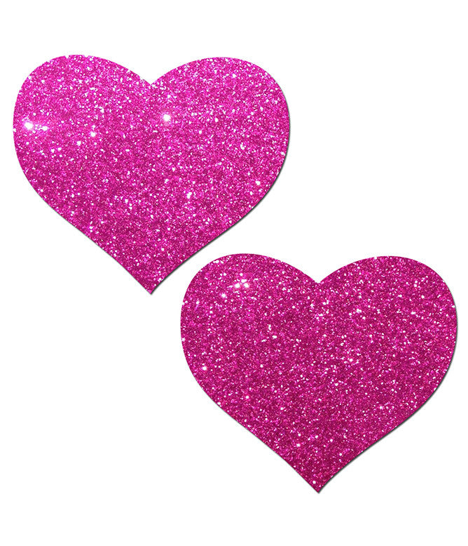 HEART NIPPLE PASTIES - PINK GLITTER