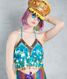 RAINBOW PRISM HALTER TOP - BLUE