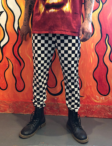 DOOF JOGGERS - BLACK & WHITE CHECKERBOARD