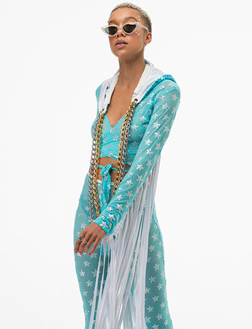 KARMA SEQUIN WRAP UP TOP - AQUA STAR SEQUIN