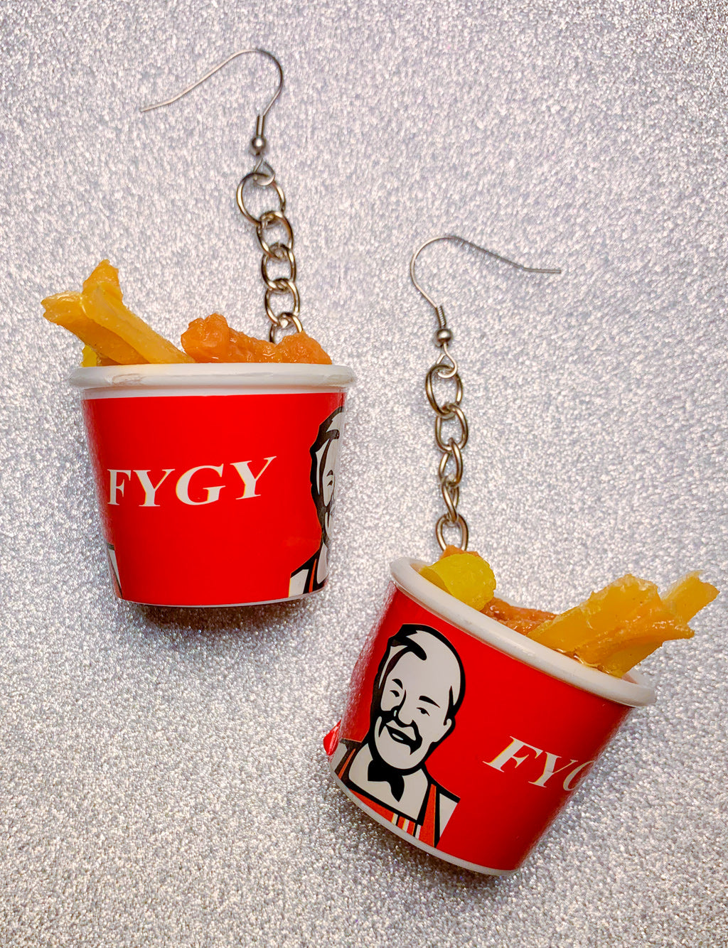 FRIED CHICKEN BUCKET EARRINGS