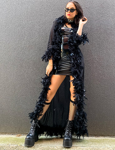 HEARTBREAKER FEATHERED SHEER KIMONO - BLACK