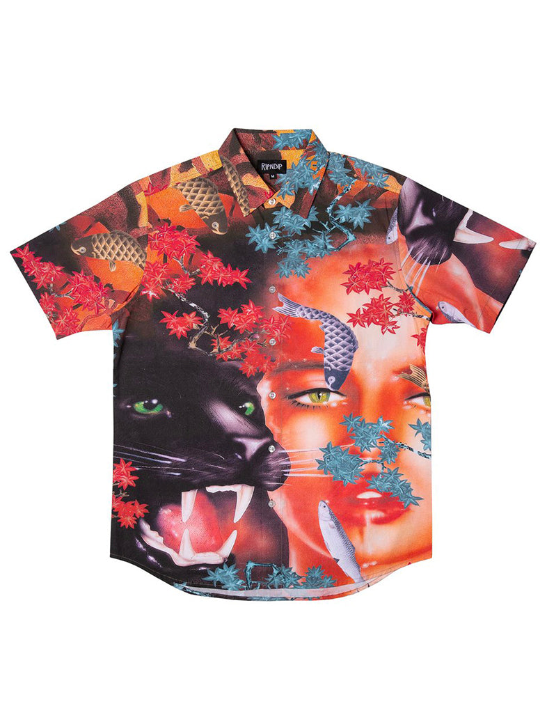 KOI SHORT SLEEVE BUTTON UP SHIRT