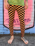 DOOF MEGGINGS - BLACK & ORANGE CHECKERBOARD