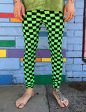 DOOF MEGGINGS - BLACK & GREEN CHECKERBOARD