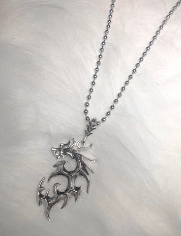 TRIBAL DRAGON NECKLACE - SILVER
