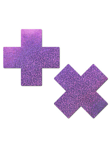 CROSS NIPPLE PASTIES - LILAC GLITTER