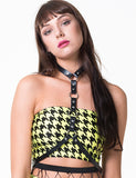 LIZA TUBE - YELLOW/BLACK HOUNDSTOOTH