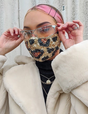 LEOPARD LOVERS SEQUIN FACE MASK