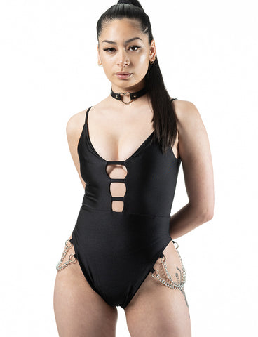 MAYA LEOTARD - JET BLACK