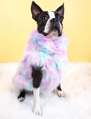 MARSHMALLOW FAUX FUR DOG JACKET