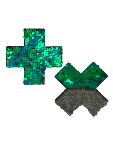 CROSS NIPPLE PASTIES - GREEN MERMAID SEQUIN