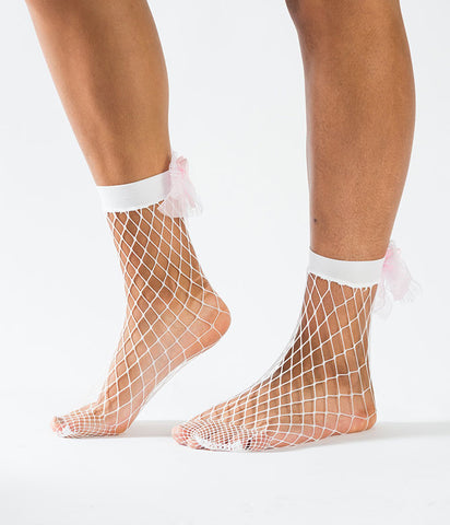 BOW TO ME FISHNET SOCKS - WHITE