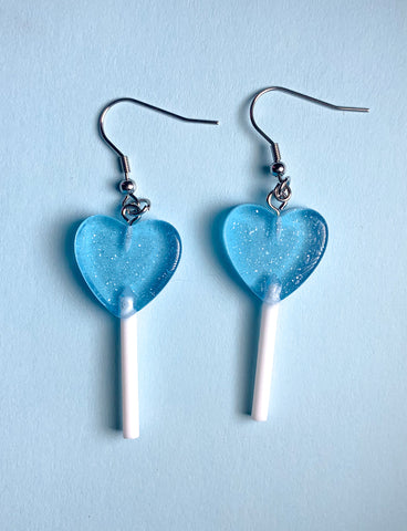 MINI HEART LOLLIPOP EARRINGS - BLUE