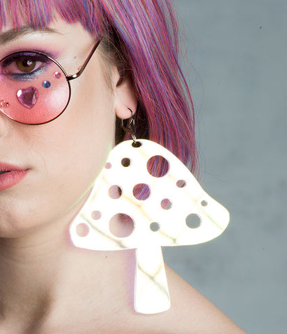 MUSHROOM EARRINGS - HOLOGRAM