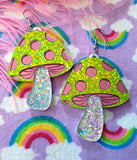 HOLOGRAM MUSHROOM EARRINGS - GREEN