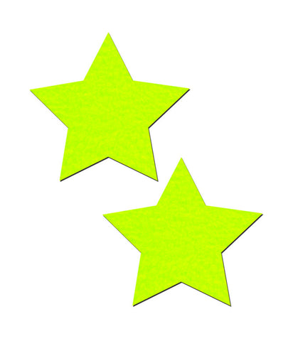 NEON YELLOW STAR NIPPLE PASTIES