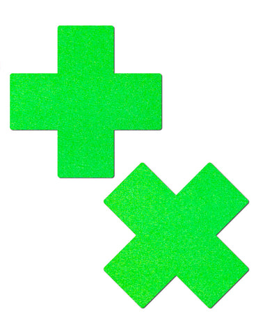 CROSS NIPPLE PASTIES - NEON GREEN