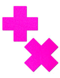 CROSS NIPPLE PASTIES - NEON PINK