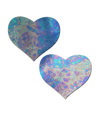 OIL SLICK HEART NIPPLE PASTIES