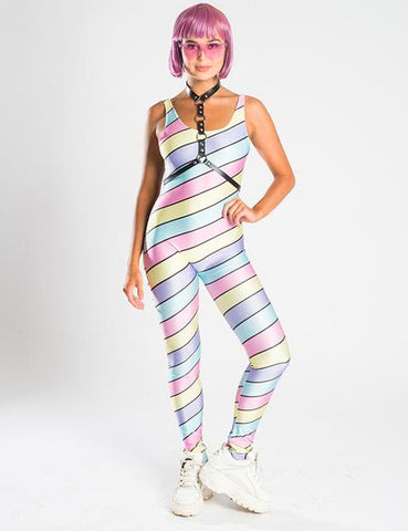 PASTEL RAINBOW STRIPES UNITARD