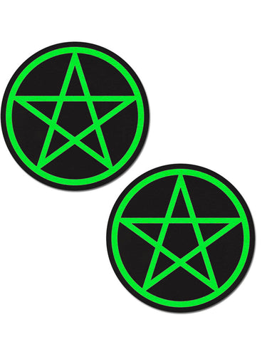 PENTAGRAM NIPPLE PASTIES - NEON GREEN INNER