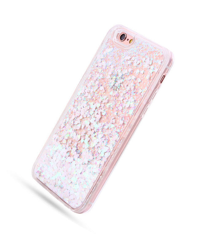PINK SNOWFLAKES SHIMMER PHONE CASE - IPHONE 6 / 6+ / 7 / 7+