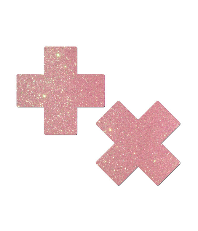 GLITTERING BABY PINK CROSS NIPPLE PASTIES