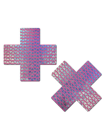 CROSS NIPPLE PASTIES - NEON PINK/ TRIANGLE