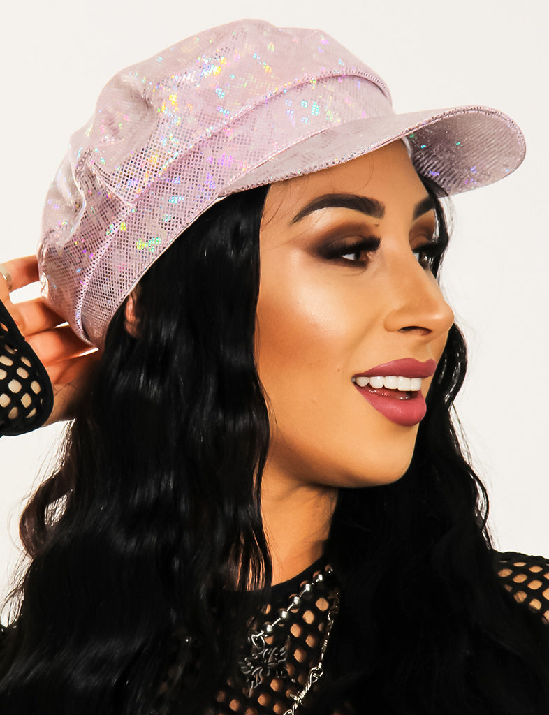 HOLOGRAPHIC GOOD NEWS CAP - BABY PINK