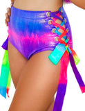 LACE UP HOT SHORTS - PURPLE RAINBOW